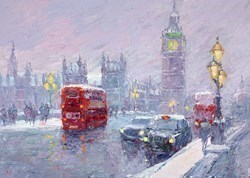 Snow, Great George Street, London by Lana Okiro -  sized 28x20 inches. Available from Whitewall Galleries